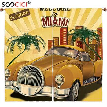 Window Curtains Treatments 2 Panels,Vintage Decor Welcome to Miami above Nostalgic Car with Palm Trees and Urban Apartment