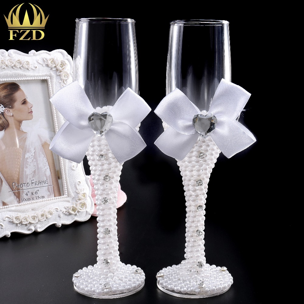 FANGZHIDI 1Set Wedding Champagne Glasses Pearls Wedding Gifts Bridal and Groom for Wedding Christmas Decoration