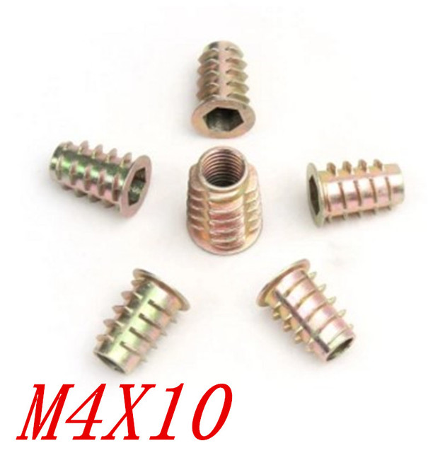 100 Pieces M4 10 M4 X 10 Meubles Insert Bois Ecrou Cheville Vis