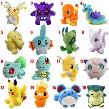 Nowy Cartoon pluszowe zabawki 12-18 cm Pikachu Snorlax Mewtwo Dragonite śliczne Charmander miękkie miękkie lalki dla Dzieci Boże Narodzenie prezent