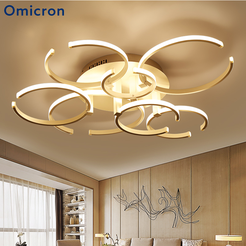 Omicron NEW Minimalist Rings White Coffee Chandeliers LED Circle Modern Chandelier Dimming Lights For Living Room Study Room|Chandeliers| |  - title=