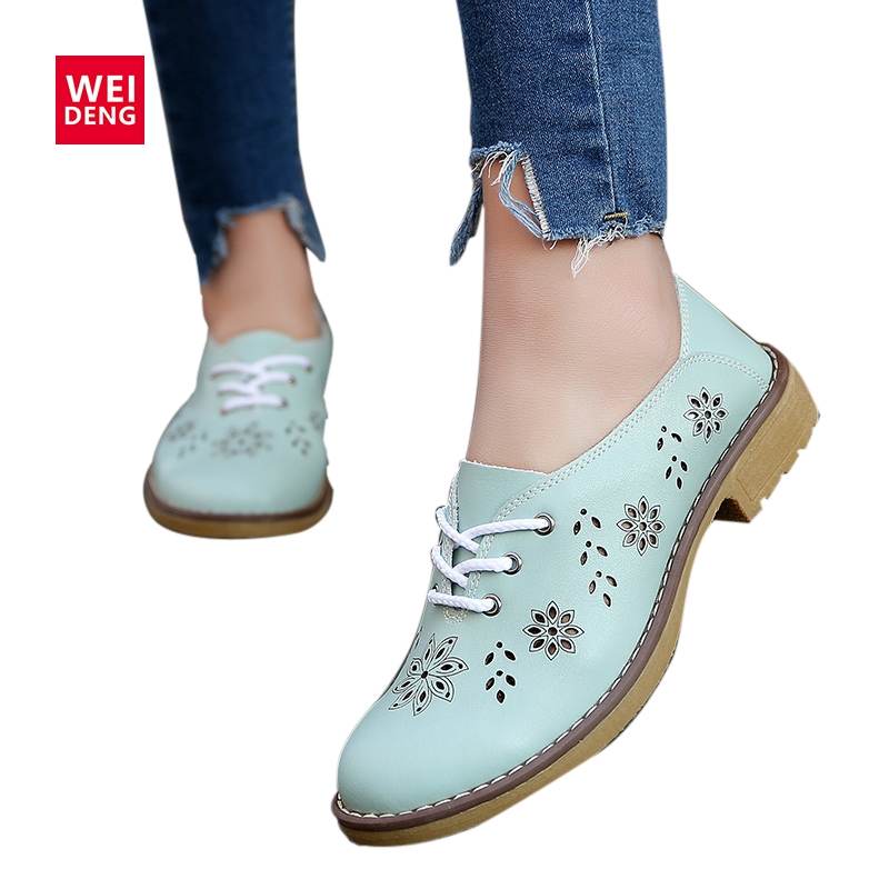 WeiDeng 2017 Genuine Leather Ankle Boots Motorcycle Brogue Lace up Classic Women Summer Fashion Retro Flat