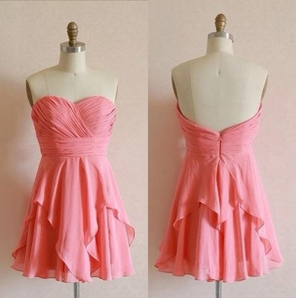 Light Pink Short Chiffon   Bridesmaid   Gown Red/Navy Blue/Peach/Ivory/Champagne/Silver/Yellow/Hunter/PinkChiffon   Bridesmaid     Dresses