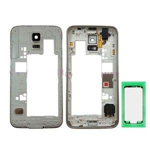 Image 1 - עבור סמסונג גלקסי S5 Duos G900FD G900MD מקוריים נייד טלפון אמצע אמצע מסגרת דיור מארז כיסוי עם דבק