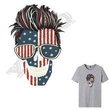 Skull Man American Flag Mask Applique Ironing Sticker DIY Apparel Accessory Badge Glasses Skull Heat Transfers Jacket Patches(China)