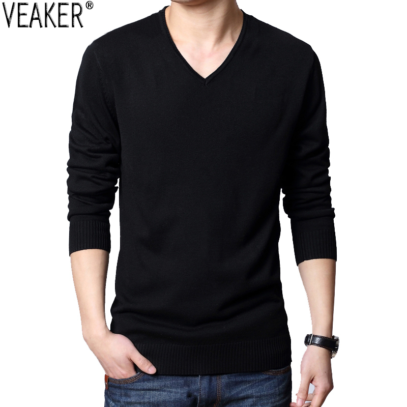 Pullover Sweaters Autumn Slim-Fit V-Neck Knitted Male Men's New Black Solid Sexy S-2XL