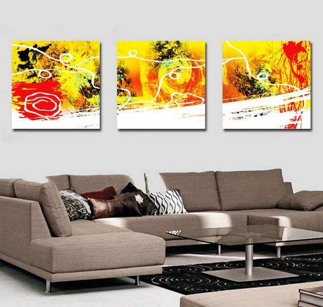 3 Piece Cheap Modern Abstract Wall Painting Home Decorative