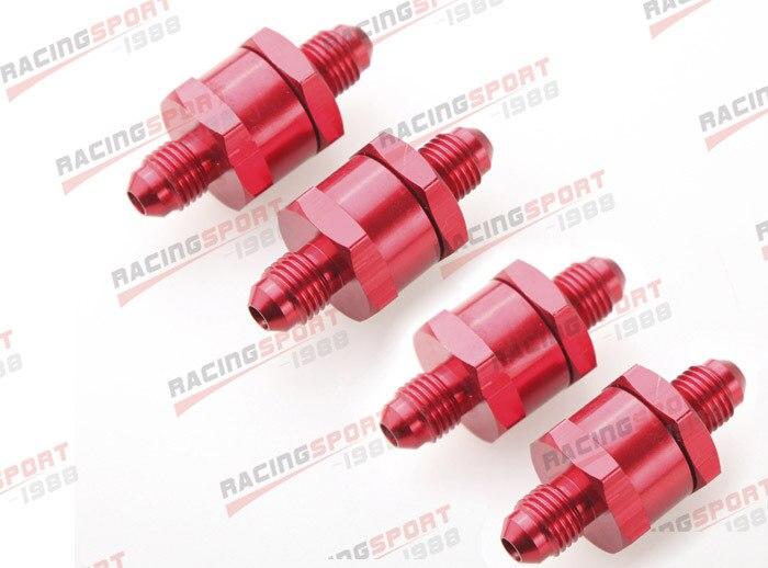 4 pièces 4AN Carburant Retour Un Clapet anti-Retour Essence Diesel D'alliage D'aluminium OWV-06-RED-4