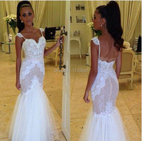 Mermaid Wedding Dress with Lace and Organza Fabric Spaghetti Strap Backless Luxurious Design New vestido de noiva