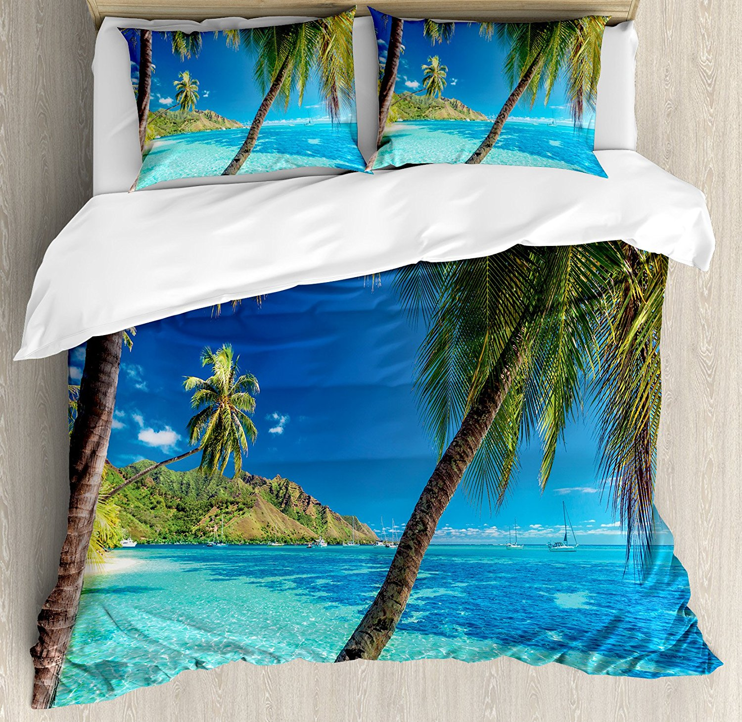 Ocean Image of a Tropical Island with the Palm Trees and Clear Sea Beach Theme Print Turquoise Blue