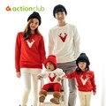 Actionclub Padre Madre Niños Trajes de Algodón Ropa de Otoño de Manga Larga T-shirt De La Familia de Madre E Hija de Ropa A Juego