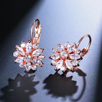 Flower Cluster Clear Crystal Zirconia Hoop Earrings For Women 2