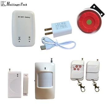 цена на WiFi Alarm System 2.4G WiFi Wireless Home Alarm System with Wireless PIR Motion Sensor Door Sensor support English Russian Voice