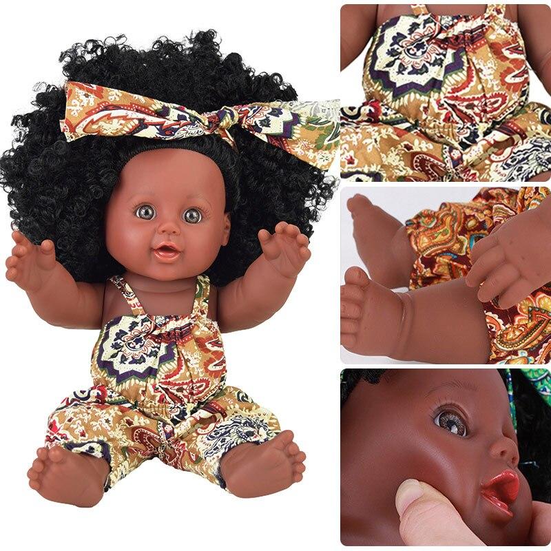2019 black doll pop reborn boneca pop dolls for girls baby full silicone Rapunzel baby doll alive toy girl kid poupee christmas