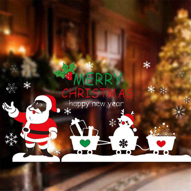 New Year Christmas Decorations Collage Santa Cart Glass Window Glass