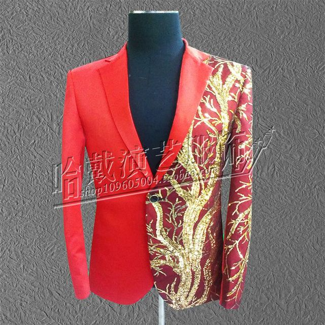 S-6XL!  2018  High quality large code performance  Fashion sequined costumes suit Bar nightclub stage costumes