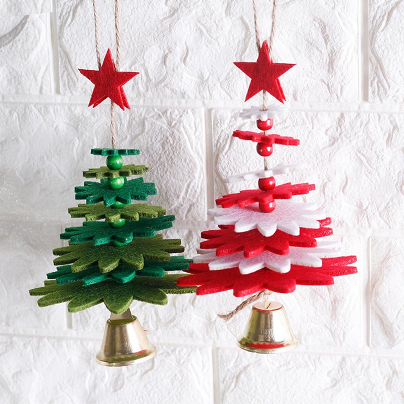 1pc Wind Chimes Christmas Tree Shape Non-woven Christmas Tree Pendant DIY Christmas Decorations Door Hanging Articles