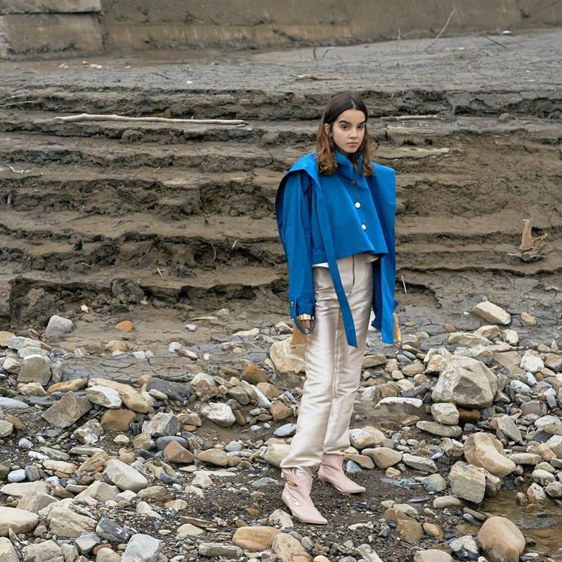 Ljt1287 Manteaux Mode Montant Court Col 2018 Vestes Nouveau Royal xitao Femmes Manches Poitrine Europe Unique Femme Pleine Rubans Blue wxaz8E8pqn