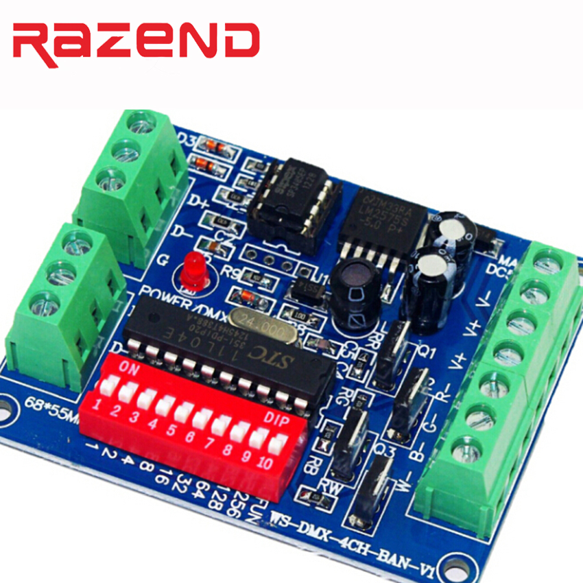 LED RGBW DMX Decoder Board , Simple  4 -way  4-channel RGBW DMX512 Light Controller Easy To DMX Control DC5V-24V  Free Shipping