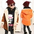 Novo! 2015 de Inverno das Crianças Outwear Meninas Berber Camurça de Lã Casaco, Crianças Espessamento de Inverno Com Capuz Casaco Amassado Criança Jaqueta
