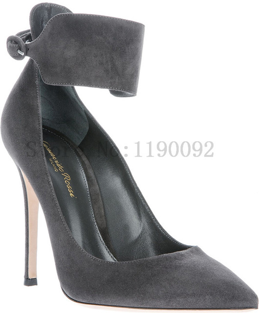 c4715ce772b 2014 NEW Gianvito Rossi Dark gray suede pointed party dress high heel shoes  women pumps