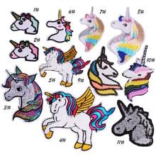 Unicornio caballo Comics Logotipo de dibujos animados chico bebé parche  coser hierro en logotipo bordado placa señal emblema tra. 48c54ae7375