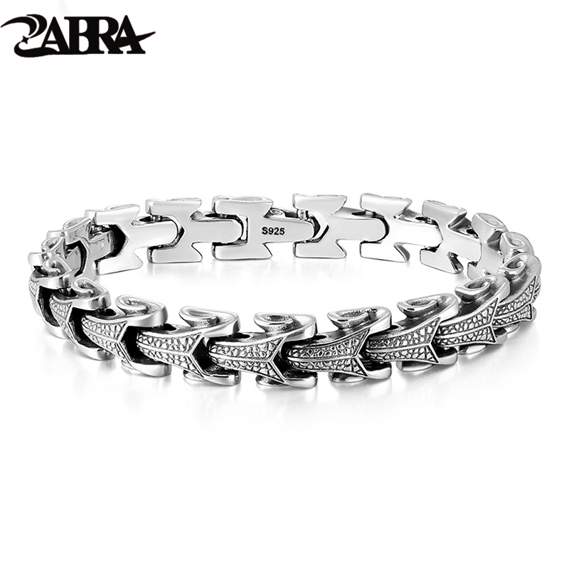 ZABRA Gothic Solid 925 Sterling Silver Dragon Bracelet Men High Polished Vintage Punk Rock Biker Keel Bracelets Jewelry For Male zabra luxury 925 silver bracelets men vintage punk crown mens skull bracelet biker gothic sterling silver jewelry erkek bileklik