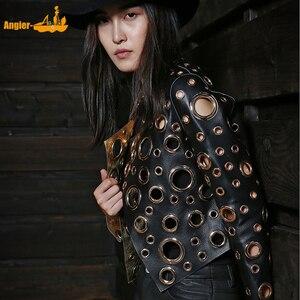 Image 1 - 레이디 정품 양 가죽 짧은 재킷 100% 진짜 양 가죽 코트