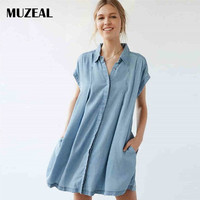 MUZEAL Buttoned Front Open Denim Woman Long Blouse Shirts Short Sleeve Stand Collar Ruched Loose Casual