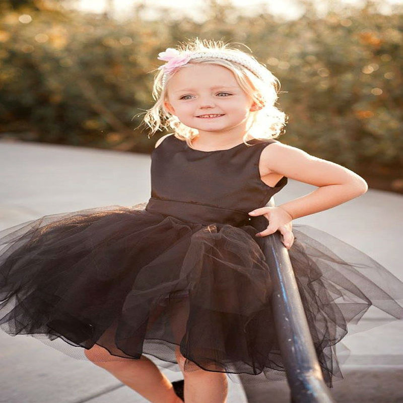 Black Spring Pretty Flower Girls Dresses Tulle Kids Beauty Mother Daughter Dresses A-Line Holy Communion Dresses