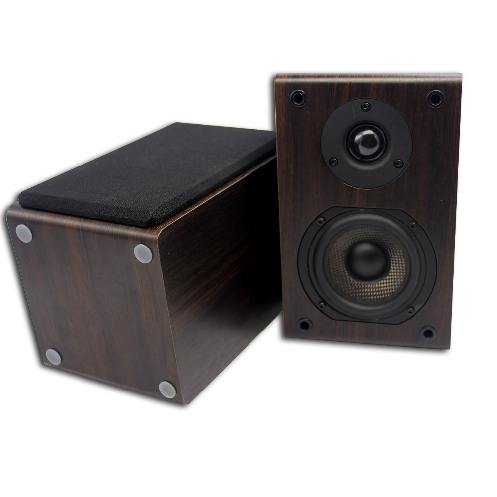 Professional Bookshelf Speaker 2-Way 75W*2 Classic Wooden Loudspeaker with 4-Inch Carbon Fiber Woofer and Silk Dome Tweeter