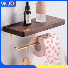 Держатель для туалетной бумаги с деревянной полкой латунный