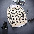 Inverno Curto De Lã Xadrez dos homens Camisa de Malha Camisola do Pulôver Jumper de Natal Jersey Hombre Roupas Quentes Emagrecimento Manswear Coréia