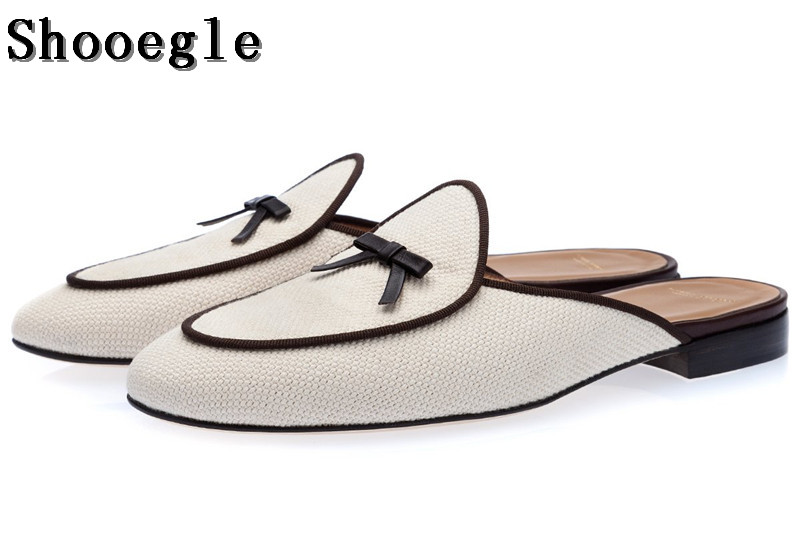 SHOOEGLE Fashion Men Mules Shoes Chaussure Homme Handmade Bowtie Loafers Slippers Comfortable Outdoor Shoes Man Size EU38-EU46