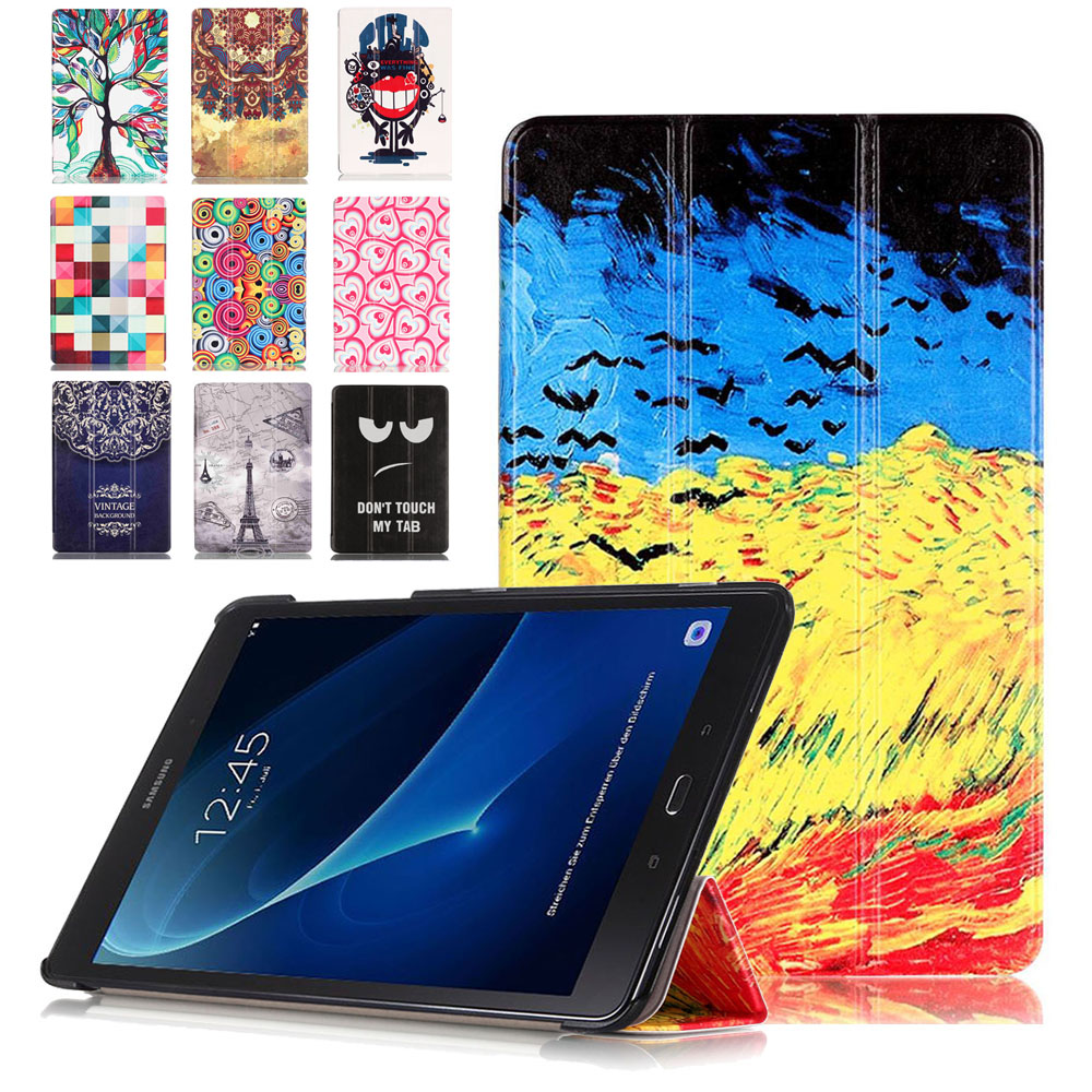 Luxury Print Cover For Samsung Galaxy Tab A 2016 T580 T585 T580N T585N 10.1 Inch Case Tablet Leather High Quality Cases + Film