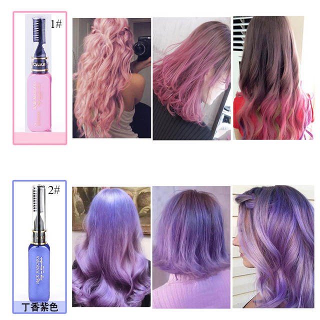 US $1 22 20% OFF|1PCS Professional Hair Color Tools Long Lasting Pigments  Blue Purple Gray Hair Tools Dye Hair Color Mascara Korean Fashion-in Hair