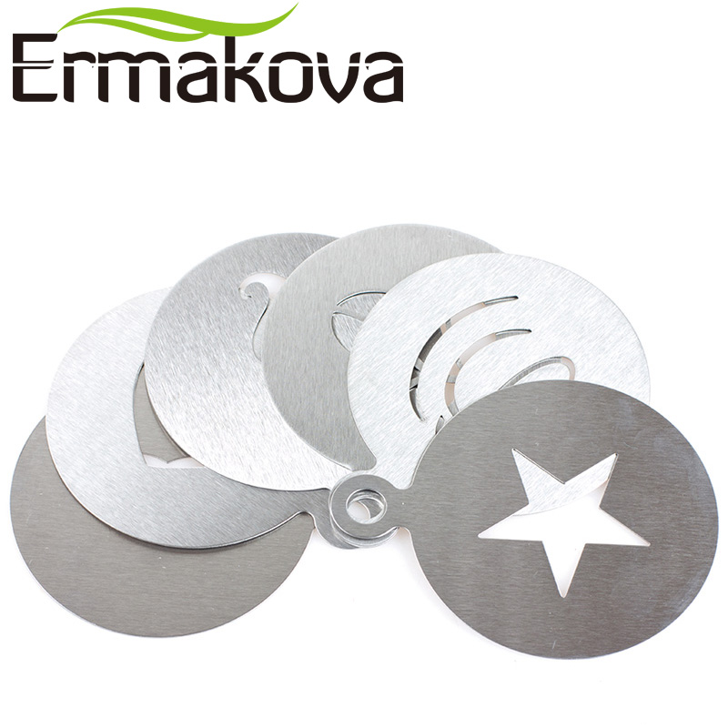 ERMAKOVA 6 Unids / set Acero Inoxidable Coffee Stencil Cafetera Latte Art Mould Plantilla Chocolate Cappuccino BaristaTool