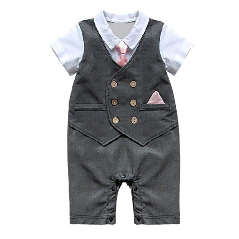 New Summer Baby Onesie Jumpsuit False Two Romper Handsome Pink tie boys Romper Short Sleeve Cotton newborn infant Clothes