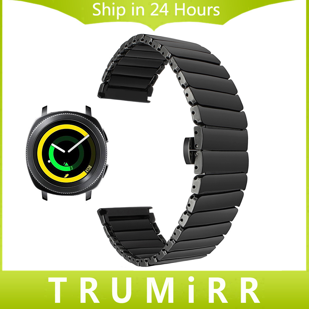 20mm Full Ceramic Watchband +Tool for Samsung Gear Sport SM-R600 Watch Band Steel Butterfly Buckle Strap Wrist Bracelet Black 16mm 18mm 20mm full ceramic watchband for timex weekender expedition watch band wrist strap link bracelet upgraded tool pin