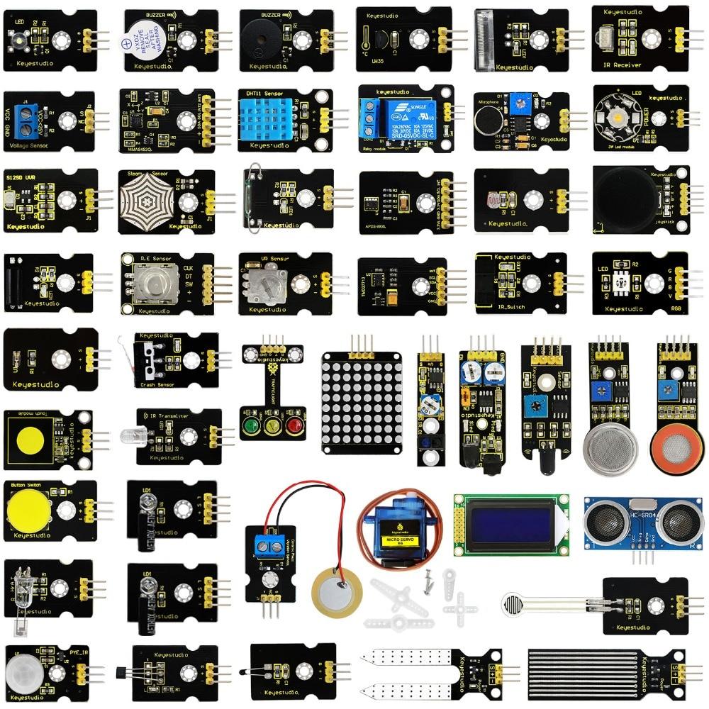 DATE! keyestudio 48 dans 1 Capteur Starter Kit Avec Boîte-Cadeau Pour Arduino BRICOLAGE Projets (48 pcs Capteurs)