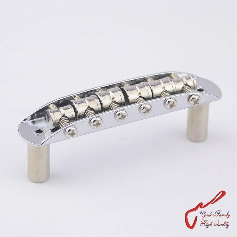 1 Set GuitarFamily  Brass Saddles Vintage Jazzmaster / Jaguar / Mustang Type Bridge  Chrome  ( #1250 ) MADE IN KOREA