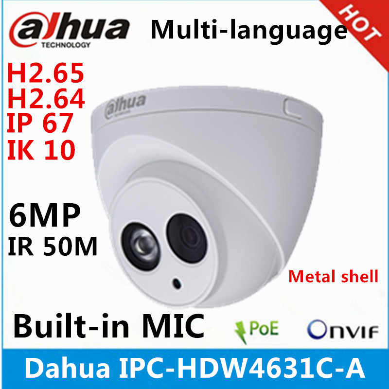 Dahua 6MP MIC POE IR IP67 metal ip camera CCTV camera
