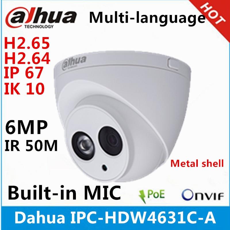 Dahua IPC-HDW4631C-A escudo de metal 6mp embutido mic poe ir 50m ip67 ik10 câmera ip substituir IPC-HDW4431C-A cctv câmera