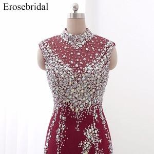 Image 4 - Erosebridal suknia wieczorowa na szyję syrenka długi luksusowy długi z koralikami formalne kobiety suknia wieczorowa Party Zipper powrót z mały pociąg