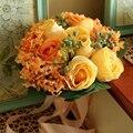 Мэнди 2016 свадебные аксессуары шелковыми лентами многоцветный градиент моделирование розы тай-крашения роскошный свадебный букет