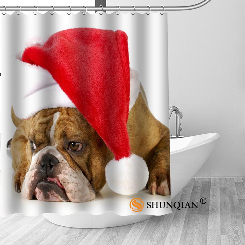 New Bulldog Puppy Dog Shower Curtain Bathroom Decorations For Home Waterproof Fabric Curtain Shower Bath Curtain A18.1.3