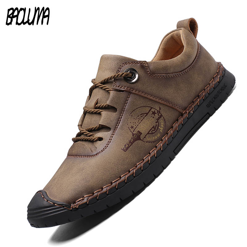 New Autumn Soft Men Casual Shoes Leather Handmade Men Loafers  Rome Designer Style Flat Moccasins Outdoors Men Sneakers 38-46
