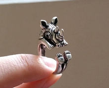 Min 1PC Rhinoceros Ring Rhino Ring Animal Ring Gift For Men(China)
