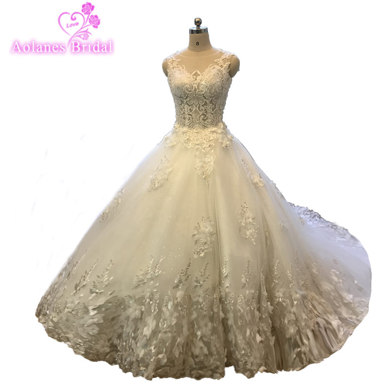 483613439641 Custom Made High Quality Luxury Beading Wedding Dress Sleeves Ball Gown  Hand Sewing Crystal CathedralTrain Wedding Gowns