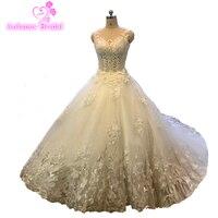 Su ordine di Alta Qualità di Lusso Bordare Abito Da Sposa Ball Gown Maniche Mano Cucito di Cristallo CathedralTrain Abiti Da Sposa